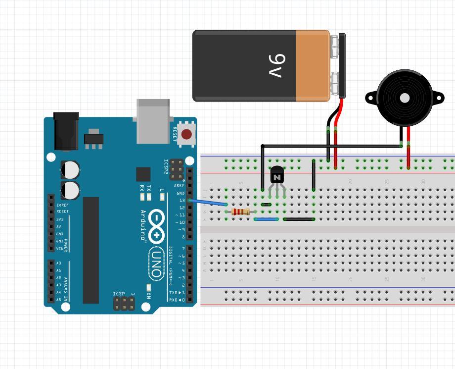 Ejemplo del circuito para el 2n2222 como interruptor