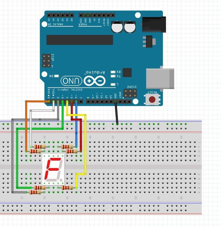 Diagrama del Contador de 0 a 9 con Arduino