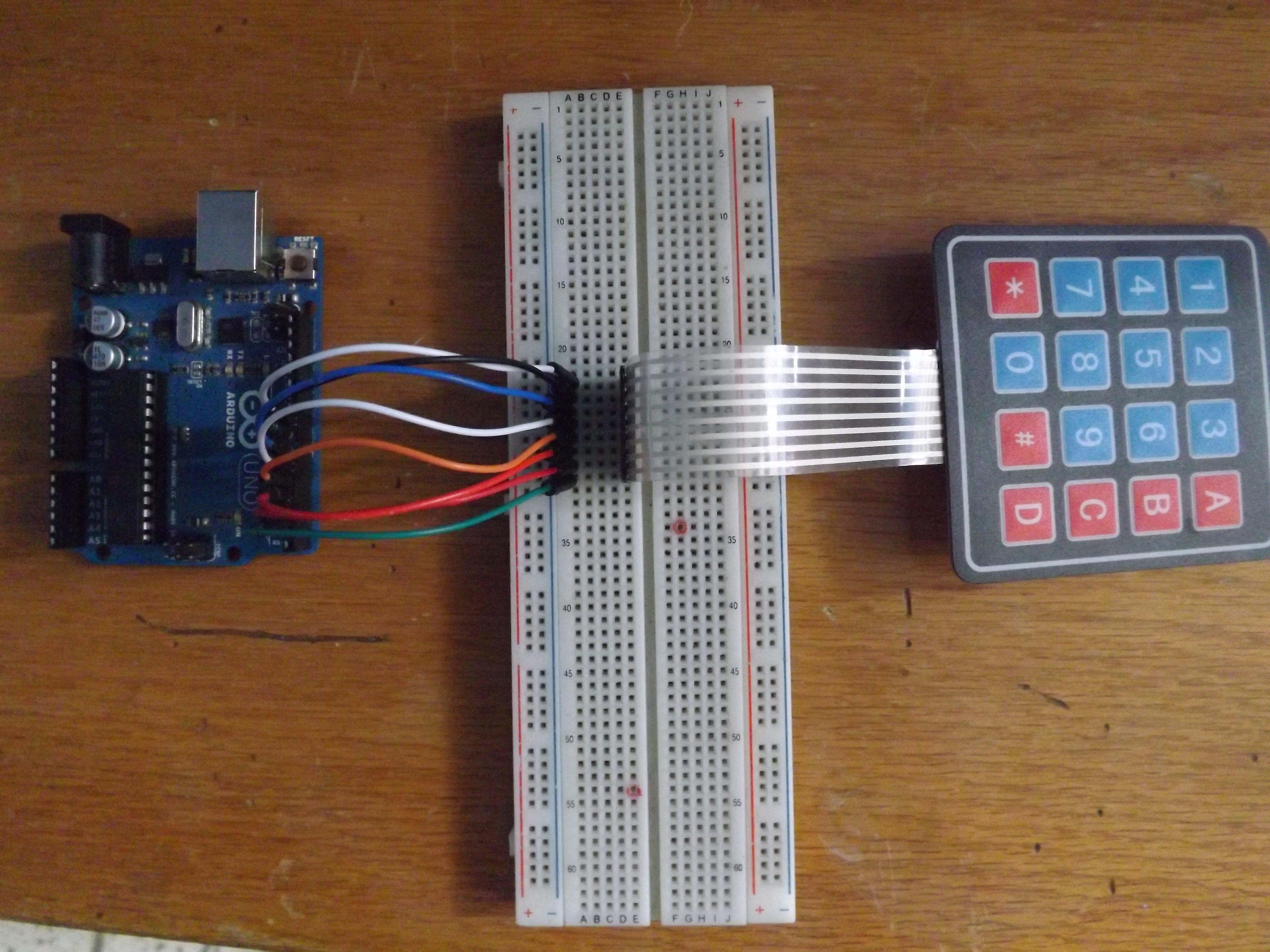 imagen2: Conexiones entre arduino y el teclado matricial 4x4