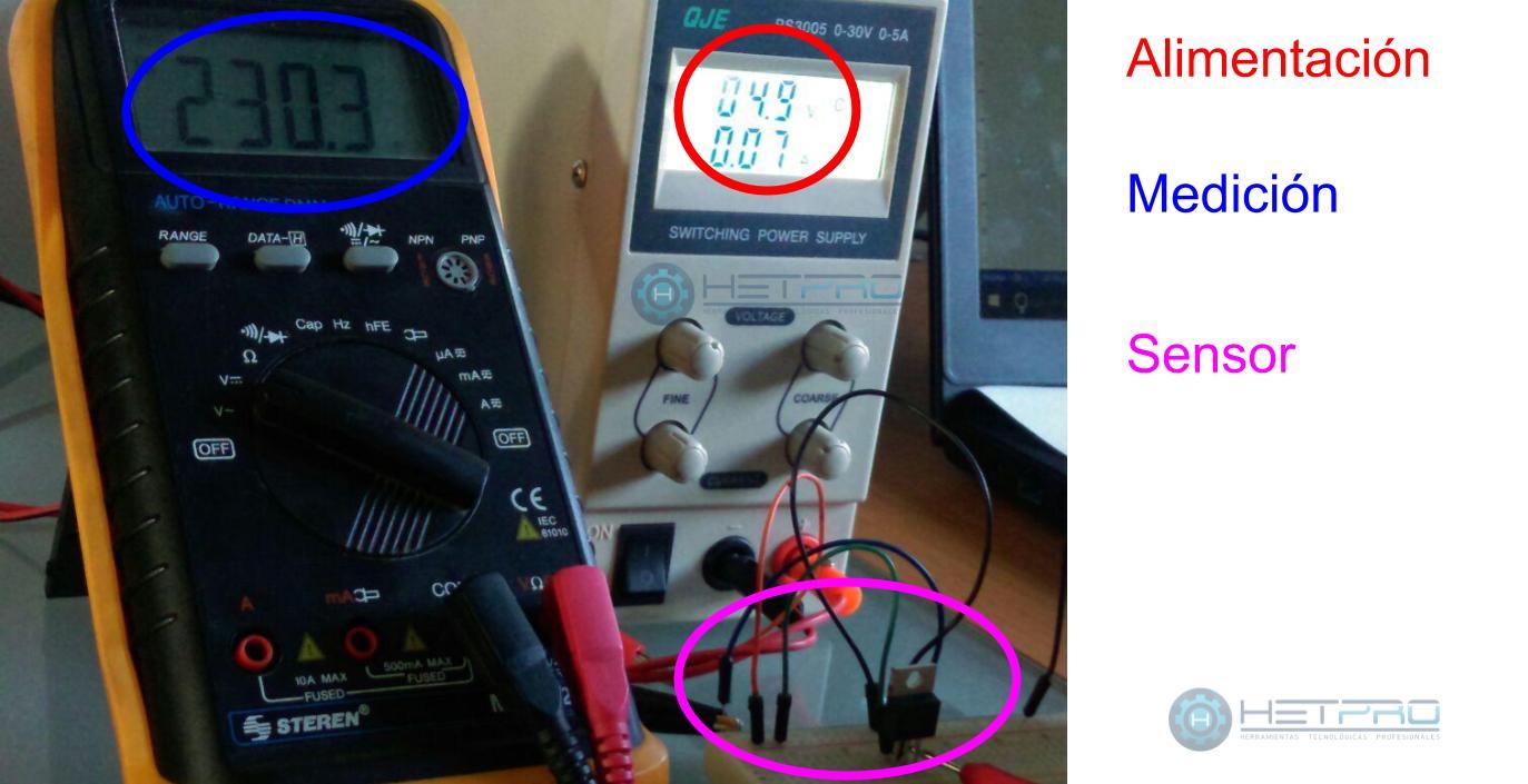 LM35 prueba con un multimetro