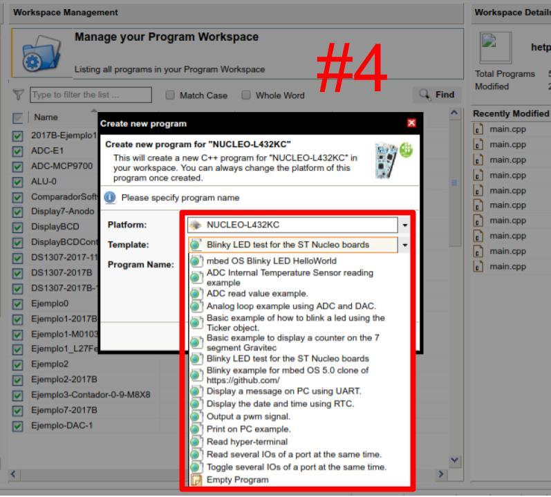 mbed compilador, crear proyecto paso 4