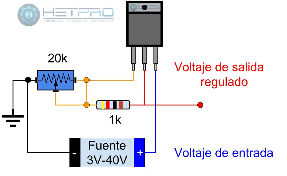 Circuito Regulador De Voltaje : Lm circuito para regulador de voltaje variable