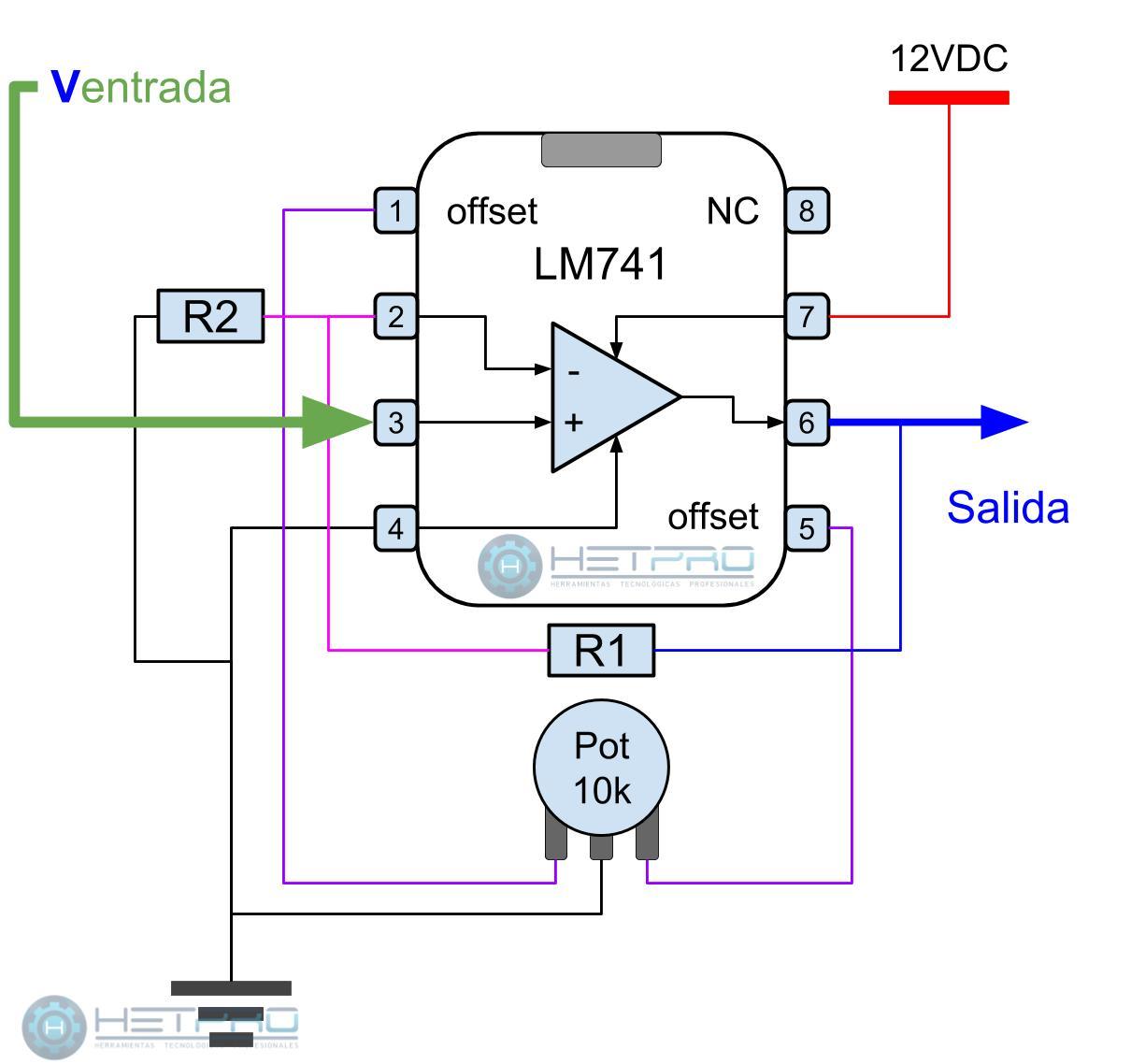 LM741 amplificador no inversor