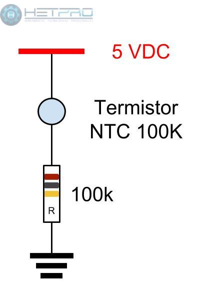 Conexión con el Termistor NTC 100k