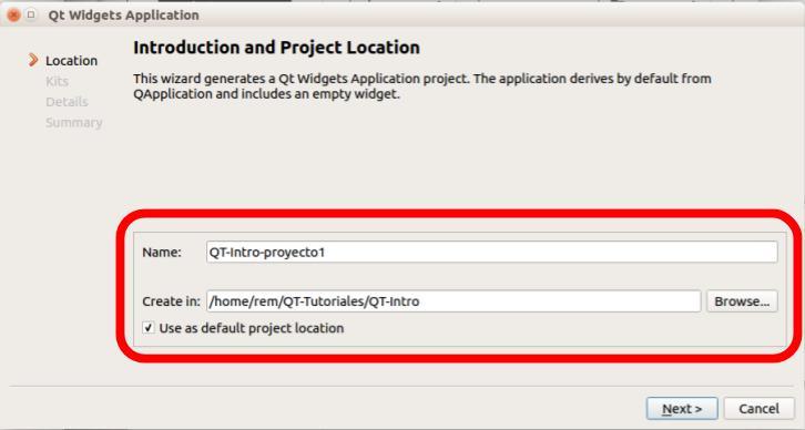 Crear un proyecto en QT Creator paso 3