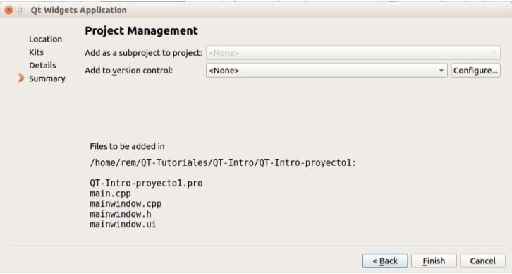 Crear un proyecto en QT Creator paso 4a