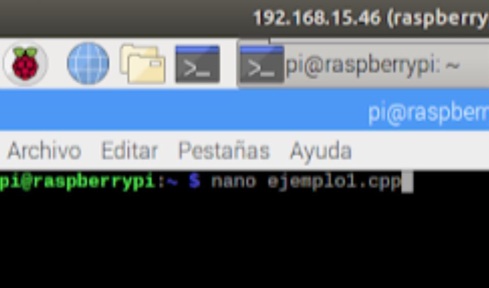 Paso # 1 - Crear un archivo de c++ en Raspbian