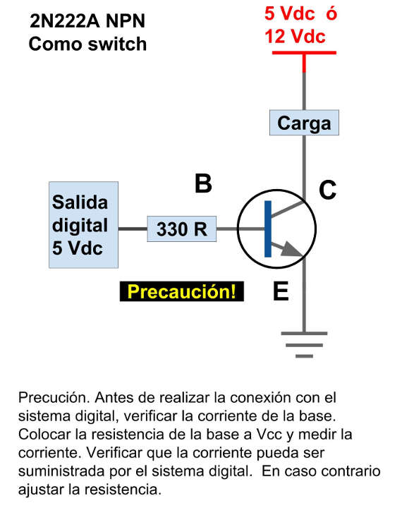 2N222 Transistor como switch