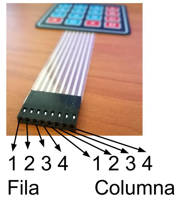 Conexiones teclado matricial 4x4