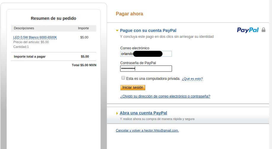 Metodo de pago payapl