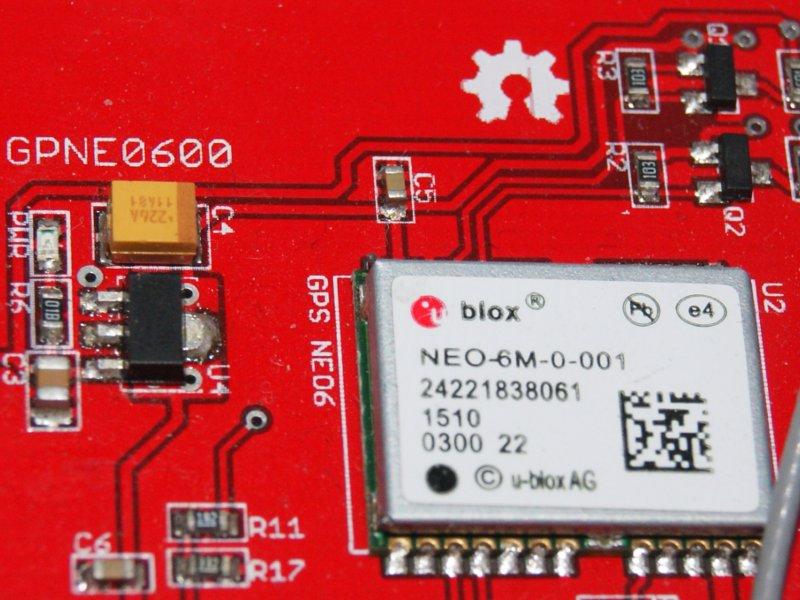 Vista frontal. Módulo GPS Shield Ublox NEO6M