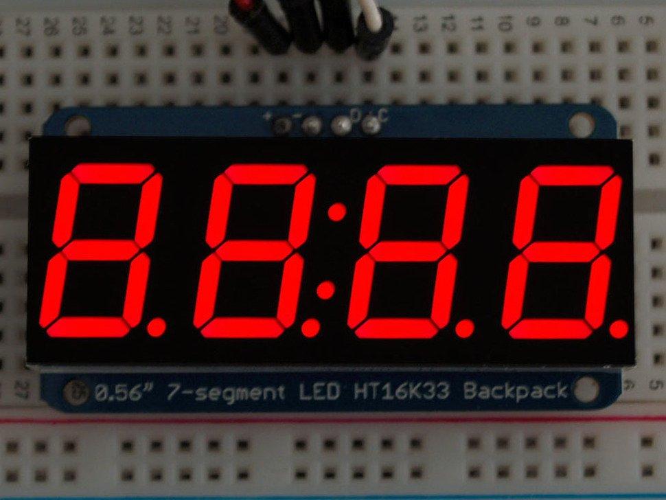 Adafruit display rojo de 7 segmentos 4 dígitos con interfaz I2C