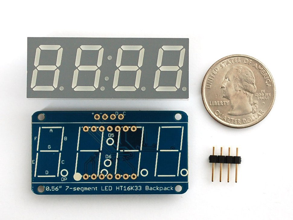 Adafruit display rojo de 7 segmentos 4 dígitos con interfaz I2C