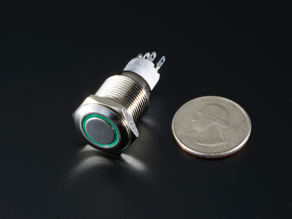 Pushbutton metalico con LED verde 16mm