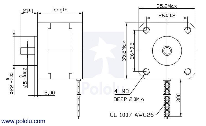 Motor a pasos NEMA 14 7.4v 200 pasos/rev