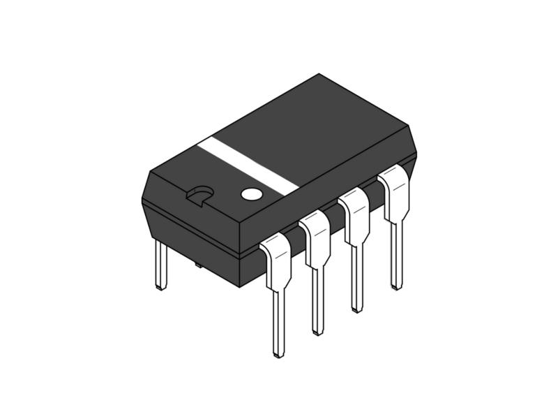 Vista frontal, AD620AN Amplificador de instrumentación