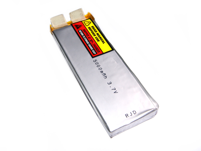 Vista frontal, Batería Lipo 3.7v 5000mAh 1 celda