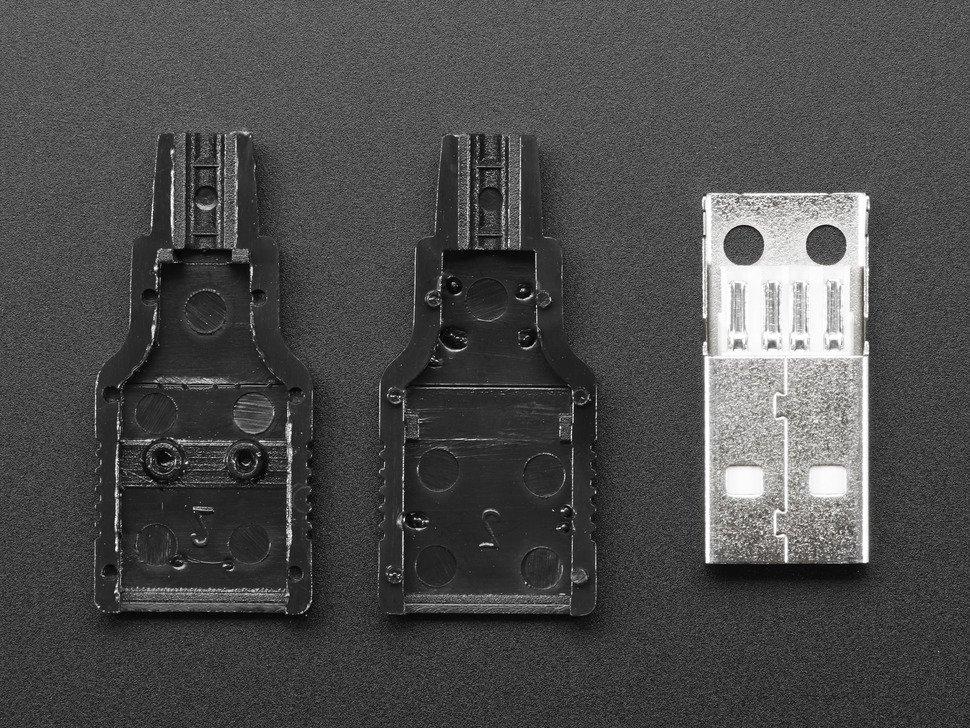 Vista frontal. Conector USB tipo A Adafruit 1387