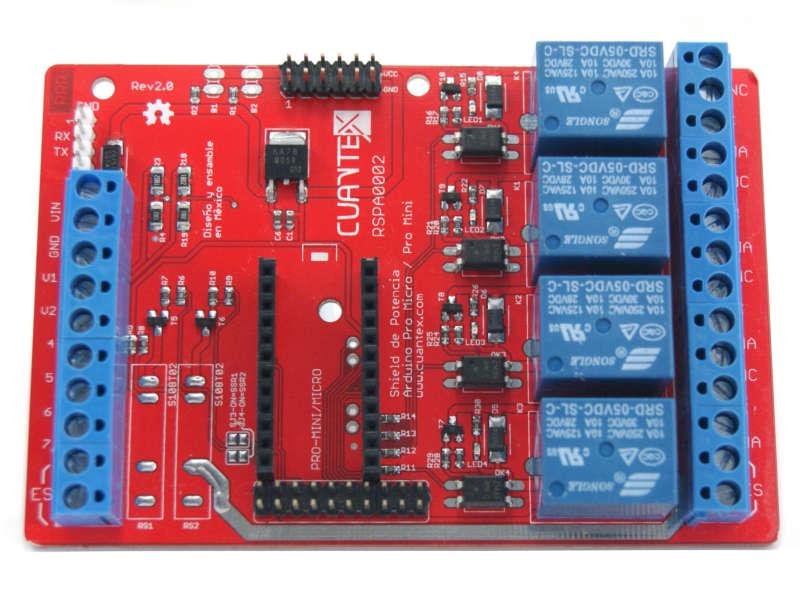 Vista frontal. Tarjeta de potencia para Arduino Pro Micro sin SSR v2.0