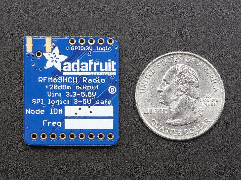 Vista posterior. Adafruit transceptor RFM69HCW 433 MHz