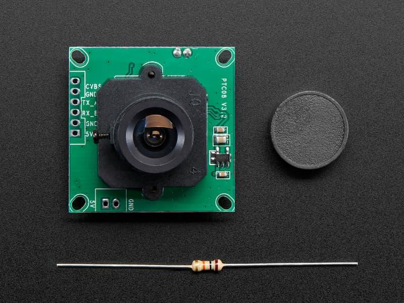 Vista frontal, Cámara serial TTL con video NTSC