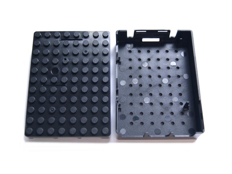Vista frontal, Case tapa para bloques para Raspberry Pi, 2 y 3 Modelo B