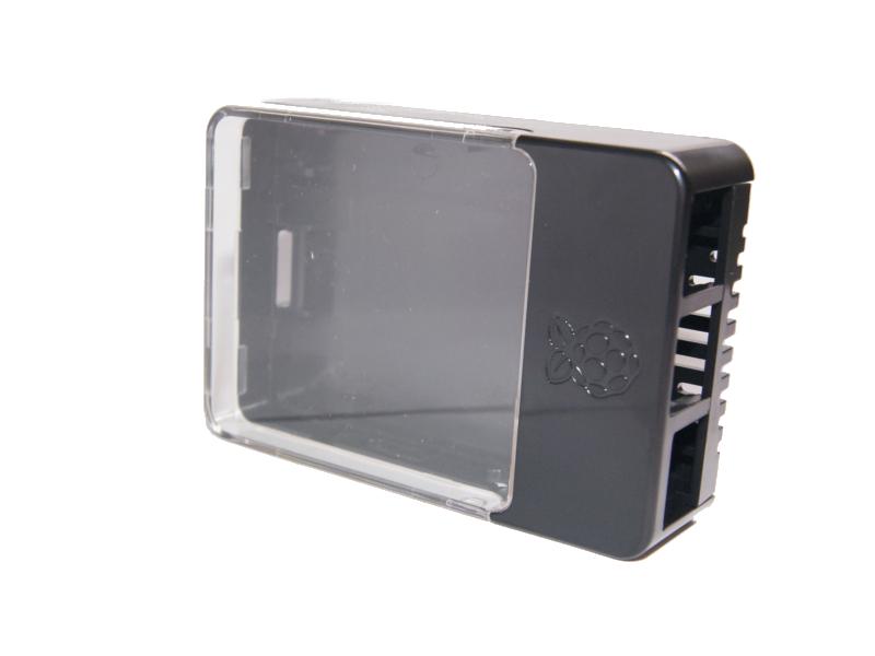 Vista diagonal, Case tapa transparente para Raspberry Pi, 2 y 3 Modelo B
