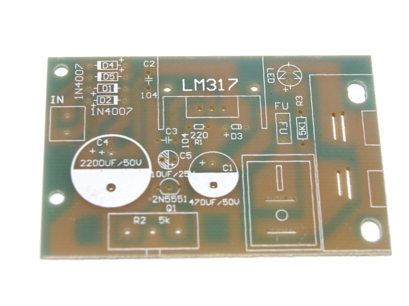 Vista frontal, Kit de módulo de regulador de voltaje variable LM317