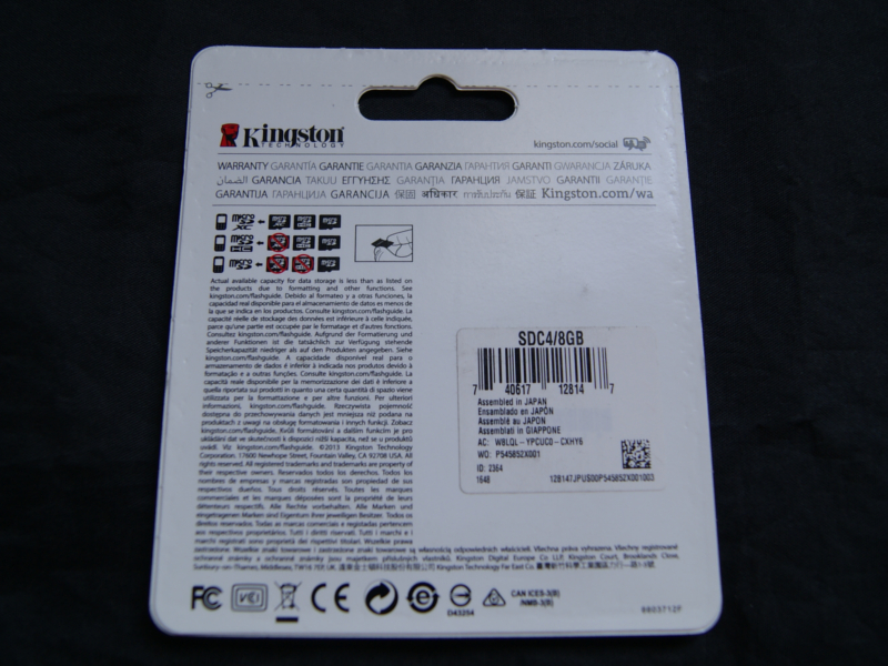 Vista posterior, Memoria microSD 8GB Clase 4