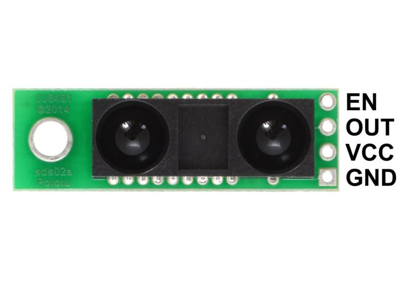 Vista frontal, Sensor Analógico de distancia 5v