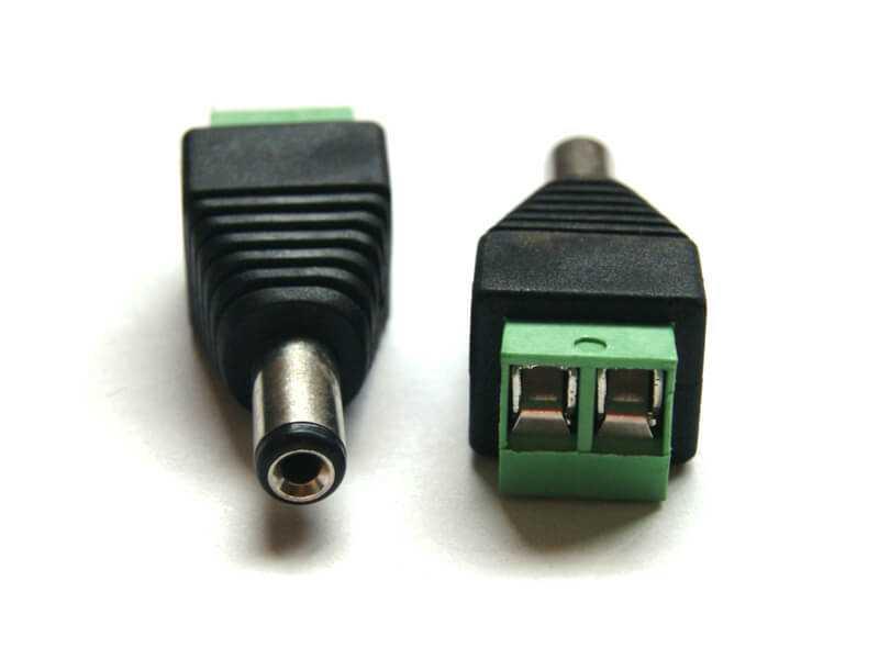Adaptador 2.1mm macho a dos terminales