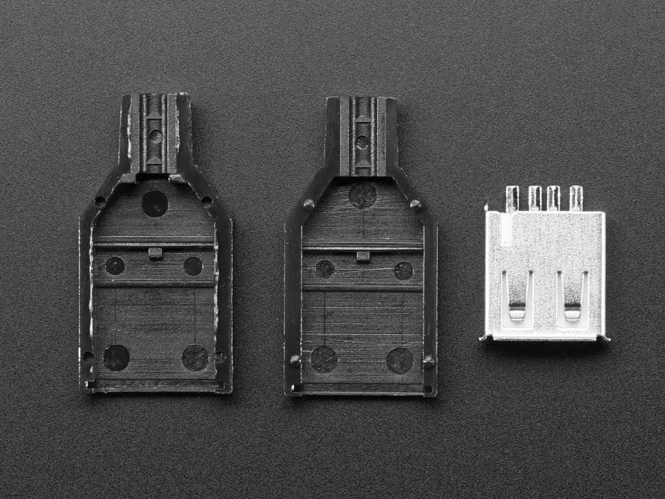 Vista frontal. Conector USB tipo A Adafruit 1388