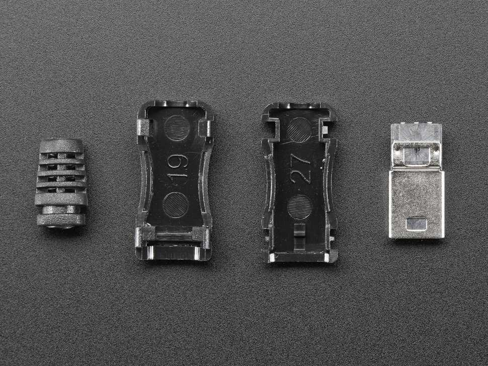 Vista frontal. USB Mini B conector adaptador 1389