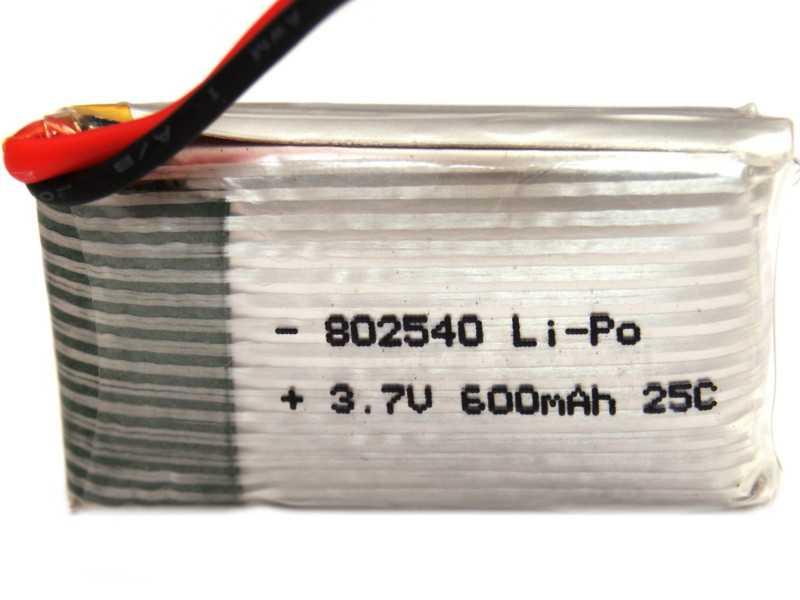 Vista posterior. Batería LiPo 1S 1000mAh