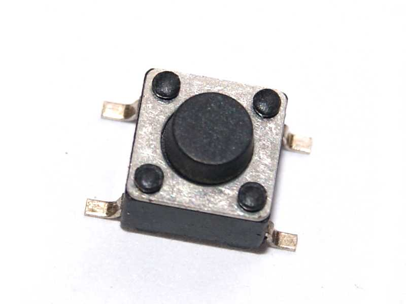 Vista frontal, Push button SMD 2 terminales