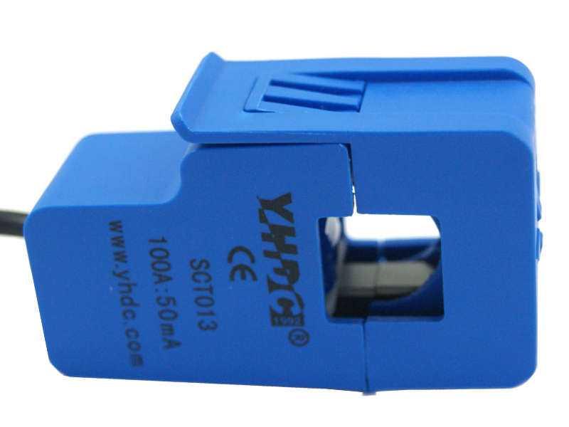 Vista frontal, Sensor de corriente SCT-013 100A 50mA