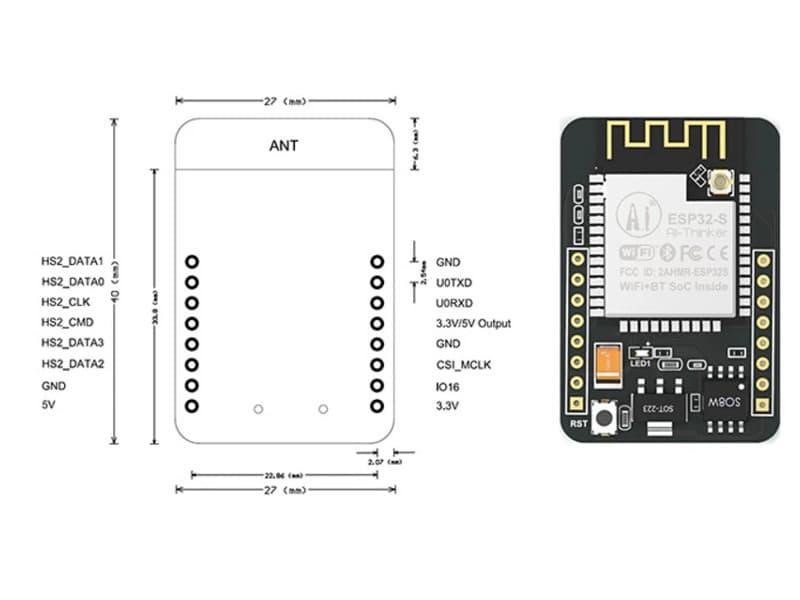 ESP32-CAM 2.4G NodeMCU dimensiones