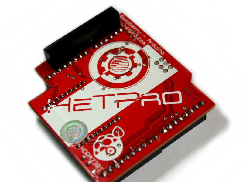 Vista trasera RaspDuino shield Raspberry